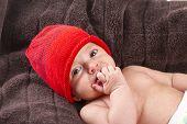 Baby Boy Over Brown Blanket