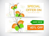 Website sale header or banner with discount offer and butterflies in national flag colors for Indian Republic Day celebrations.