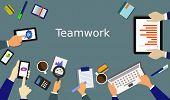 teamwork concept, business meeting, flat design