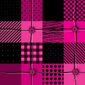 Checkered magenta patchwork.