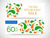 Website sale header or banner set with 60% off and floral design in national flag colors for Indian Republic Day celebrations.