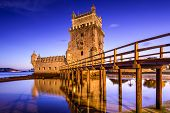 Lisbon, Portugal at Belem Tower on the Tagus River.