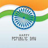 Beautiful national flag color waves with Ashoka Wheel for Happy Republic Day celebration on shiny sky blue background.
