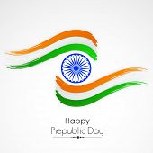 Indian Republic Day celebration with Ashoka Wheel and national tricolor paint stroke on white background.