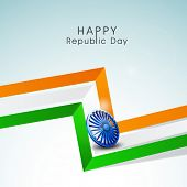 Stylish 3D stripes in national flag color with Ashoka Wheel for Indian Republic Day celebration on sky blue background.