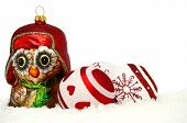 stock photo of snow owl  - christmas card with owl and baubles in snow on white background - JPG