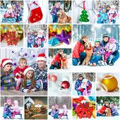 collage of a family photos on a christmas theme