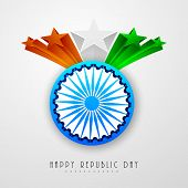 Shiny Ashoka Wheel with 3D national flag color stars on shiny grey background for Indian Republic Day celebration.