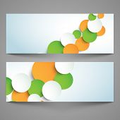 stock photo of indian independence day  - Website banner or header set with paper circles in national flag color for Indian Independence Day and Republic Day celebration - JPG