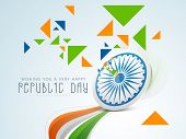 Indian Republic Day celebration concept with Ashoka Wheel, national tricolor waves and triangles in green, saffron and blue color.