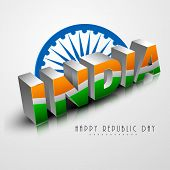Indian Republic Day celebration with 3D text India painted by national tricolor with Ashoka Wheel on shiny grey background.