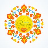 picture of rangoli  - Beautiful floral design decorated rangoli with wishing text Happy Pongal - JPG