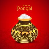 Happy Pongal, South Indian harvesting festival celebrations with rice in decorative traditional mud pot on floral design decorated shiny red background.