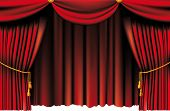 picture of tassels  - push the red theater curtain with tassels and cord - JPG