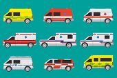 foto of ambulance car  - Vector international ambulance cars with different painting - JPG