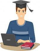 Illustration Featuring a Man Who Graduated From an Online Course