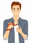 Illustration of a Man Holding His Exotic Pet Snake