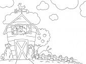 Illustration of a Ready to Print Coloring Page Featuring a Barn