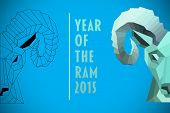 Half rams head against blue background with vignette