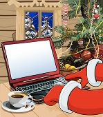 Cartoon Santa Claus Writes A Letter On The Laptop.eps