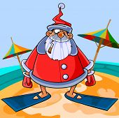 Funny Cartoon Santa Claus Wearing Flippers On The Beach.eps
