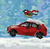 Cartoon Bird Fluttering Scarf, Sitting On A Car Hurtling On Snow In Winter.eps