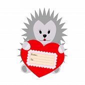 Hedgehog holding a heart on a white background