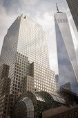 NEW YORK - SEPT 11, 2014: Buildings that make up the World Financial Center, including the Freedom Tower, on the anniversary of the 2001 September 11 terrorist attacks in Lower Manhattan.