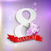 eight march. Women's Day greeting card with paper number eight, orchid flower and red ribbon