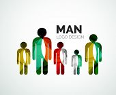 Abstract company logo design elemnet - man icon