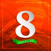 8 march. Women's Day greeting card with paper number eight and red ribbon