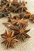 Star anise on burlap background