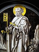Medieval stained glass window panel of St Peter