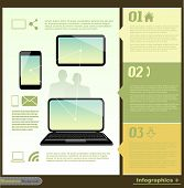 Communication infographic illustration with mobile phone