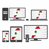 Electronic Devices With The Map Of Lebanon