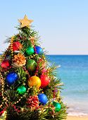Christmas Tree On The Sand On The Beach