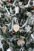 Christmas decorations in rustic style, close-up