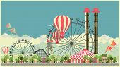 image of amusement  - Vector holiday background with karnvalom and amusement park - JPG
