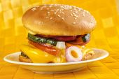 image of veggie burger  - Homemade veggie burger on plate  - JPG