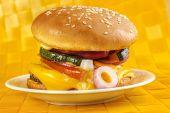 stock photo of veggie burger  - Homemade veggie burger on plate  - JPG