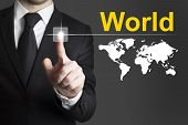 Businessman Pushing Button World Worldmap