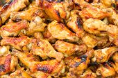 foto of chicken wings  - Hot and Spicey BBQ Chicken Wings background - JPG