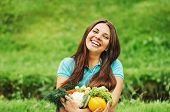 Cute Happy Woman With Organic Healthy Fruits And Vegetables