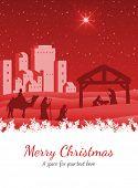 Merry Christmas against nativity scene vector under starry sky