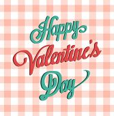 Digitally generated Happy valentines day vector on gingham pattern