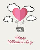 Digitally generated Happy valentines day vector with heart hot air balloon