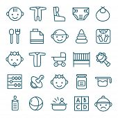 stock photo of teats  - Baby icons set in thin line style - JPG