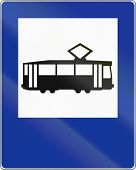 image of tram  - A Polish traffic sign  - JPG