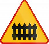 stock photo of railroad-sign  - Polish sign indicating a manned railway crossing - JPG