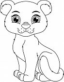 foto of panther  - Cute panther cub cartoon coloring page - JPG